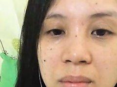 Lusty Asian Bimbo Moans While Rubbing Her Shaved Velvet Pur