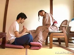 Beddable Japanese Dame Enjoys  Double Pleasure Riding On A Huge Penis With Her Bobbies Getting Caressed